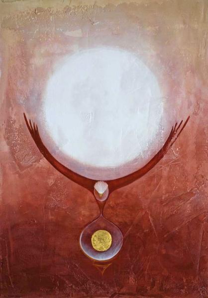 L\'athanor - acrylique et huile sur toile - 50/70 cm