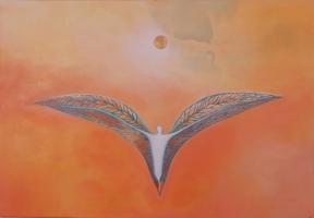 Naissance de l\'âme - acrylique et huile sur toile -116/80 cm